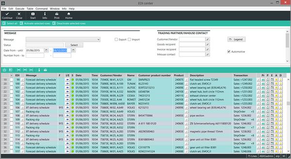 abas ERP EDI Merkezi, tüm EDI işlemlerinin tek bir ekrandan yönetimini sağlar